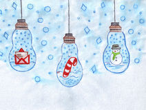 Illustration of garland with Christmas symbols: a letter of congratulations, stocking, snowman Royalty Free Stock Photos