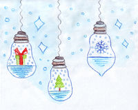 Illustration of garland with symbols of Christmas: a gift, Christmas tree, snowflake. On a white background Stock Photo