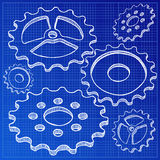 Illustration of gears on blueprint Stock Photography