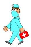 Doktor mit rotem Kasten Stockfotografie