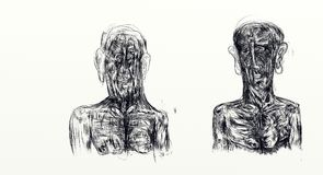 Illustration gemacht mit dem nankin, das nebeneinander den Fehlschlag von zwei Männern anzeigt Stockfotos