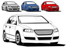 Illustration of generic car. Isolated on white, black and white illustration plus colors stock illustration