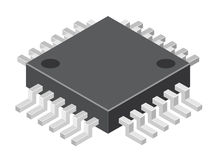 Illustration of generic computer microchip Stock Photography