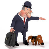 Illustration the gentleman with a dog. Stock Photo