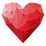 Illustration with geometric abstract polygonal heart isolated on white cover for use in design for valentines day or wedding card Royalty Free Stock Images
