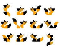 Illustration of geometric cats in duplex vector illustration
