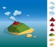 Illustration of geometric island landscape Stock Photo