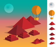 Illustration of geometric landscape pyramids on dessert Royalty Free Stock Photos