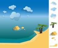 Illustration of geometric sea coast landscape Royalty Free Stock Photo
