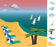 Illustration of geometric sea exotic coast landscape Stock Photos