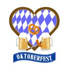 Illustration for the German traditional Oktoberfest with beer mugs and Bretzel. On the background of the heart with Bavarian ornament vector illustration