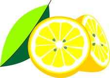 Illustration geschnitten in halbe Zitrone mit Blatt Stockbilder