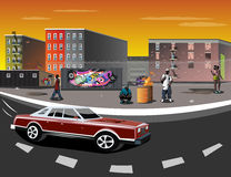 Illustration of a Ghetto with black people Royalty Free Stock Image