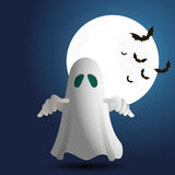 Illustration of ghost on bacground. Vector Illustration of ghost on bacground with full moon and bat Stock Photo