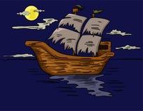 Illustration of a ghost ship sailing at sea Royalty Free Stock Photo