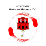 Illustration Gibraltar National Day with sight of Gibraltar - red castle and golden key in trendy style. 10 september design templ Stock Photos