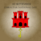 Illustration Gibraltar National Day with sight of Gibraltar - red castle and golden key in trendy style. 10 september design templ Royalty Free Stock Images