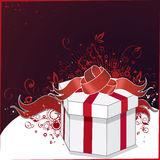 Illustration of gift box. An illustration of a white gift box tied with red ribbon and bow against a purplish  background with red abstract designs Stock Photography