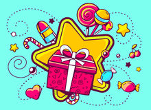 Illustration of gift box and confection  on green backgro Royalty Free Stock Image