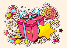 illustration of gift box and confection  on light backgro Stock Photo