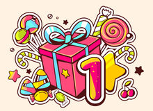 Illustration of gift box and confection with number one o Royalty Free Stock Images