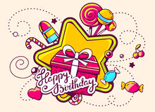 Illustration of gift box and confection with text happy b Royalty Free Stock Images