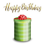 Illustration of a gift box and inscription HAPPY BIRTHDAY Stock Image