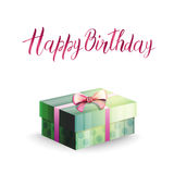 Illustration of a gift box and inscription HAPPY BIRTHDAY Stock Photos