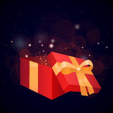 Illustration of a gift box and sparkles Stock Image