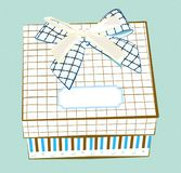 Illustration of a gift box with stripes and two bows isolated on blue background royalty free stock image