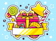 Illustration of gift box and sweets with ribbon on blue b Royalty Free Stock Photography