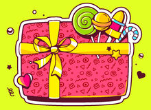 Illustration of gift box top view and confectionery on gr Stock Images