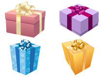 Illustration of gift boxes. Illustration of holiday gift boxes in bright and fresh colors Royalty Free Stock Photos