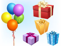 Illustration of gift boxes. Illustration of holiday gift boxes and balloon in fresh colors Royalty Free Stock Photo