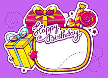 illustration of gift boxes and confection with frame on p Stock Photography