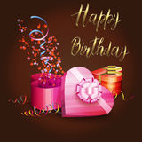 Illustration of a gift boxes, serpentine and inscription HAPPY BIRTHDAY Stock Photography