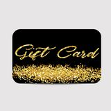 Illustration Gift Card Template with Golden Dust Texture. Gift Voucher, Coupon, Invitation, Certificate, Diploma, Ticket Etc. - Vector Royalty Free Stock Photos