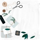 Illustration of gift wrapping station with stationary Royalty Free Stock Image