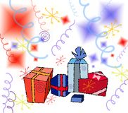 Illustration-Gifts. Illustration suitable for cards/backgrounds Royalty Free Stock Photography