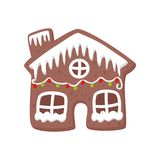Gingerbread house decorated with white icing. Tasty holiday cookie. Christmas sweets. Flat vector for party invitation royalty free illustration