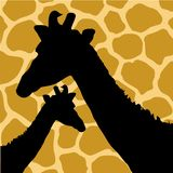 Illustration of Giraffe Hide Pattern with Giraffes Royalty Free Stock Images