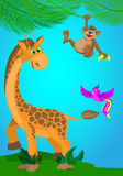 Illustration with a giraffe,monkey and bird . Royalty Free Stock Photography