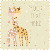 Illustration of giraffes in love. Royalty Free Stock Image