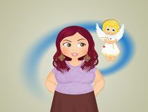 Girl with angel unconscious. Illustration of girl with angel unconscious royalty free illustration