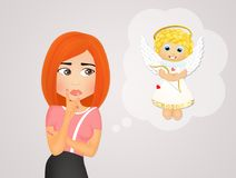 Girl with angel unconscious Royalty Free Stock Photo