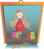 Illustration of girl with bags of shopping. Big sale stock illustration
