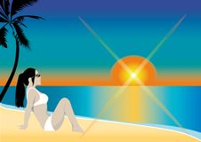 Illustration of girl on beach. An illustration of a girl on the beach Royalty Free Stock Photos