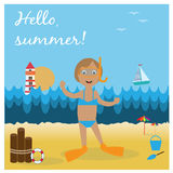 Illustration with girl on the beach with diving goggles and flippers. Royalty Free Stock Photos