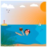 Illustration with girl on the beach. EPS 10 Royalty Free Stock Photos