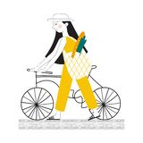 Illustration of a girl with a bicycle. Carries a bag with food. stock illustration